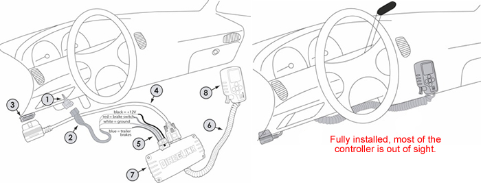 connect the brake control as follows gm wire to brake