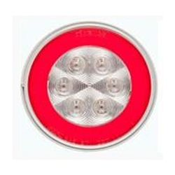 "4"" Round GloLightTM Clear Stop/Turn/Tail Light RED"