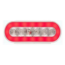 "6"" Clear Oval GloLightTM Stop/Turn/Tail Lights RED"