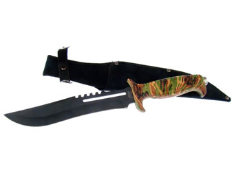 Bowie Black Blade with Camo Handle 18-432CA