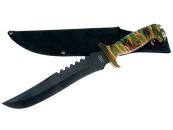Bowie Black Blade with Camo Handle 18-434CA