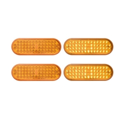 "6"" Oval Sealed LED Yellow Parking/Turn Signal (56 Diodes)  Pair"