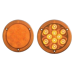 "4"" Round Sealed LED Parking/ Turn Signal Light with Reflex Mounting Flange"