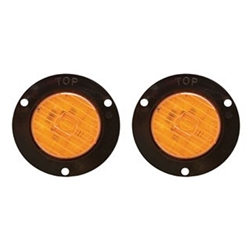 "Amber 2"" Round Flange Mount LED Marker/Clearance Light Pair"