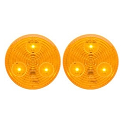 "Amber 2"" Round Sealed LED Marker/Clearance Light Pair"
