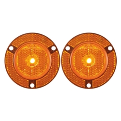 "2"" Amber Round Sealed 7-LED Flange Mount Marker/Clearance Light with Reflex Pair"