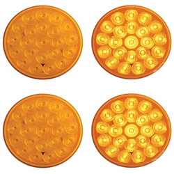 "4"" Round Sealed LED Strobe Warning Lamp Function 2 Pair"