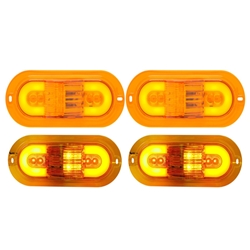 "GloLight 6"" Oval Sealed LED E Rated Mid-Ship Turn Signal and Intermediate Marker Light Pair"
