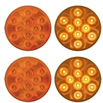 "4"" Round Sealed Yellow LED Parking/Turn Signal  (10 diodes) Pair"