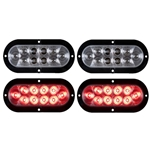 "6"" Flange Mount Oval Sealed LED Stop/Turn/Tail Light (Clear Lens) Pair"