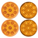 "Amber 2"" Miro-Flex Round Sealed LED Marker/Clearance Light Pair"